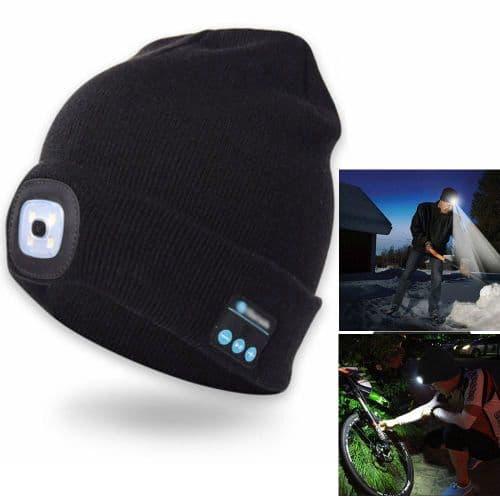 Bonnet Casque Écouteur Sans Fil Bluetooth Avec Lampe Frontale Led Jogging Sport